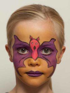 Kinderschminken Fledermaus oder Batmann - Nachher