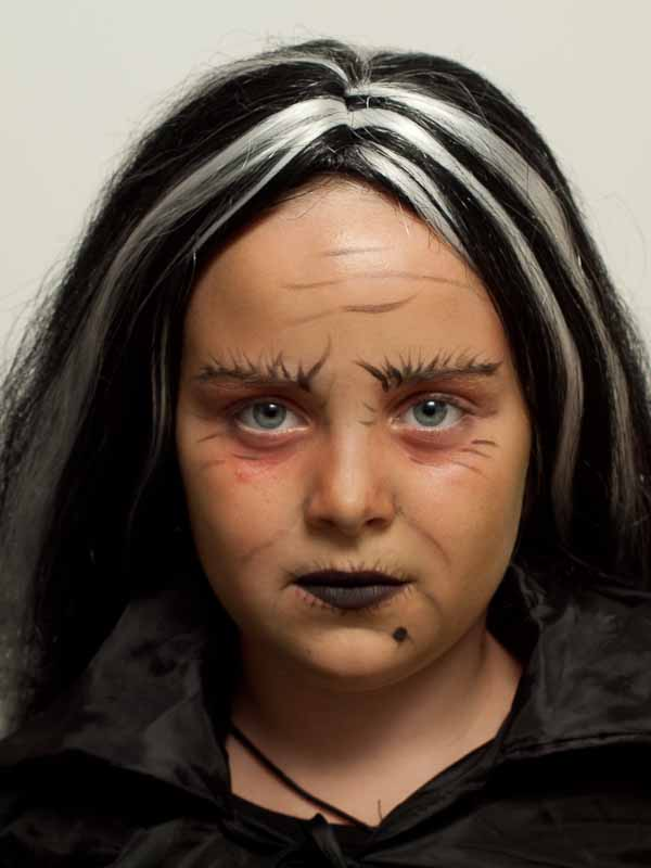 Kinderschminken Hexe – Vorher Nachher