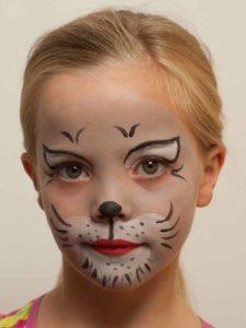 Kinderschminken Katze – Vorher Kinderschminken Katze – Nachher