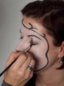 Pierrot - Schminken für Karneval - Augen Make up 1