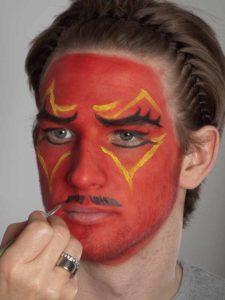 Teufel - klassische Variante in rot schminken Bart 1