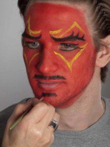 Teufel - klassische Variante in rot schminken Bart 2
