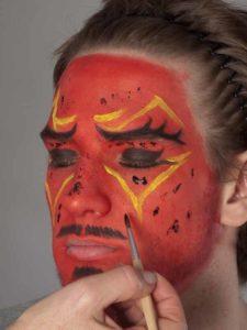 Teufel - klassische Variante in rot schminken Glitter