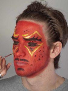 Teufel - klassische Variante in rot schminken Glitzer
