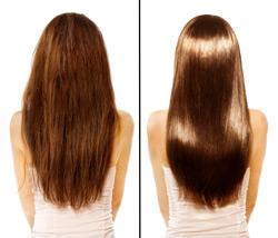 Haarglättung vorher-nachher
