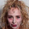Vampir-Lady für Halloween schminken – Vorher Nachher